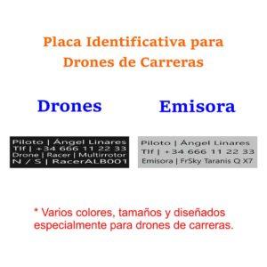 Placa identificativa para drones de carreras